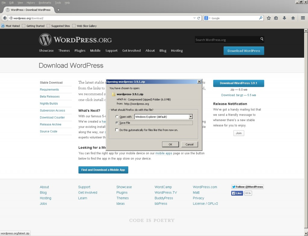 Image of downloading most recent version of WordPress