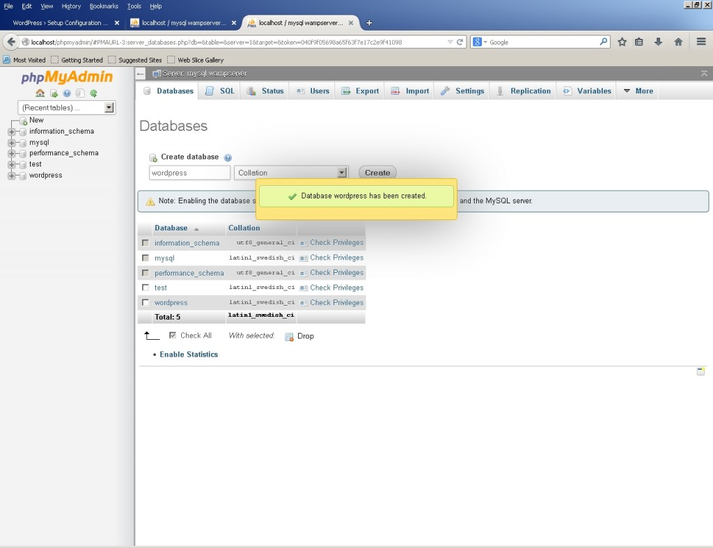 phpmyadmin database has been created screen
