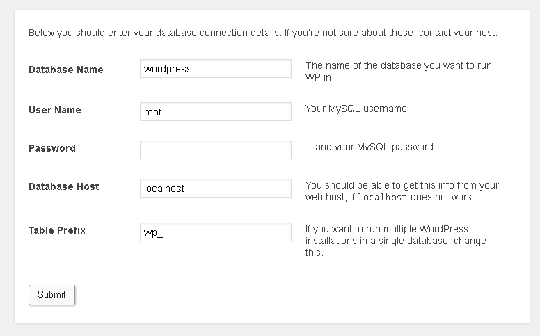 WordPress database connection details page