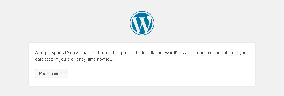 WordPress Run the nstall screen