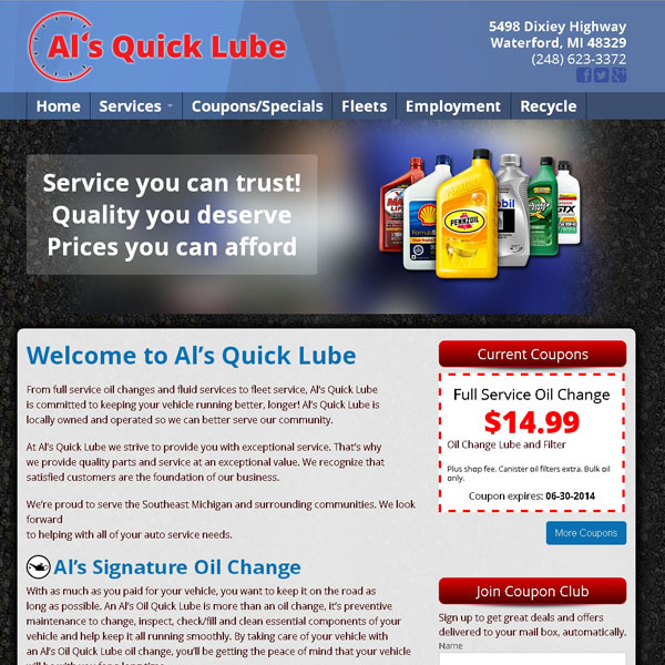 Web Design Customer, Al's Quick Lube