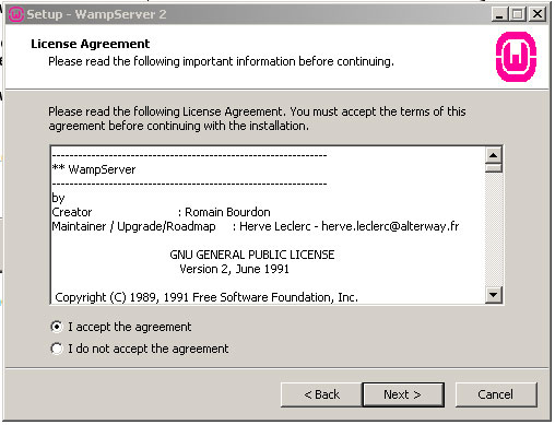 Wampserver License Agreement