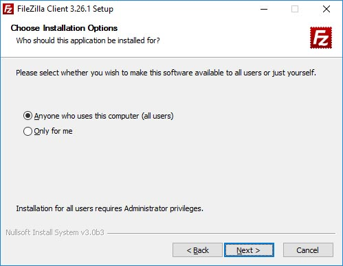 FileZilla install options